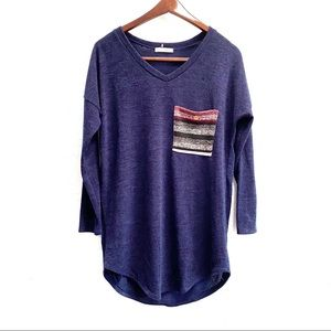 Reborn J Blue V-neck Pocket Long Sleeve Tunic S